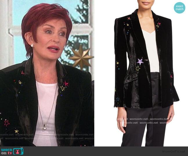 Estelle Velvet Star-Embroidered Blazer by Cinq a Sept worn by Sharon Osbourne  on The Talk