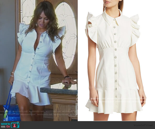 Yvette Ruffle Shirtdress by Cinq a Sept worn by Kelly Dodd  on The Real Housewives of Orange County