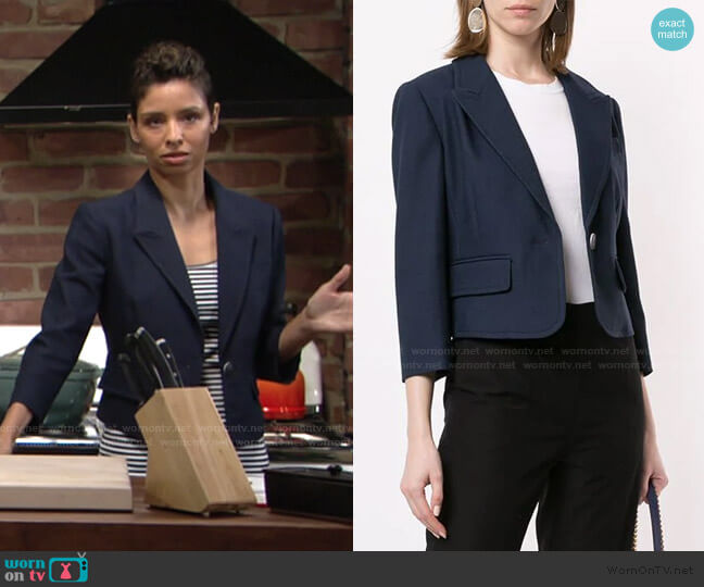 Cropped Fitted Blazer by Paule Ka worn by Elena Dawson (Brytni Sarpy) on The Young & the Restless