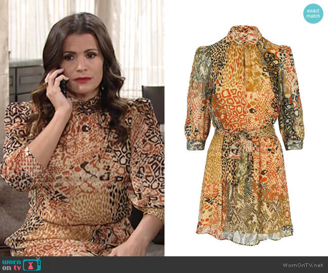 Autumn Colored Mock Neck Dress by Dream Catcher worn by Chelsea Lawson (Melissa Claire Egan) on The Young & the Restless