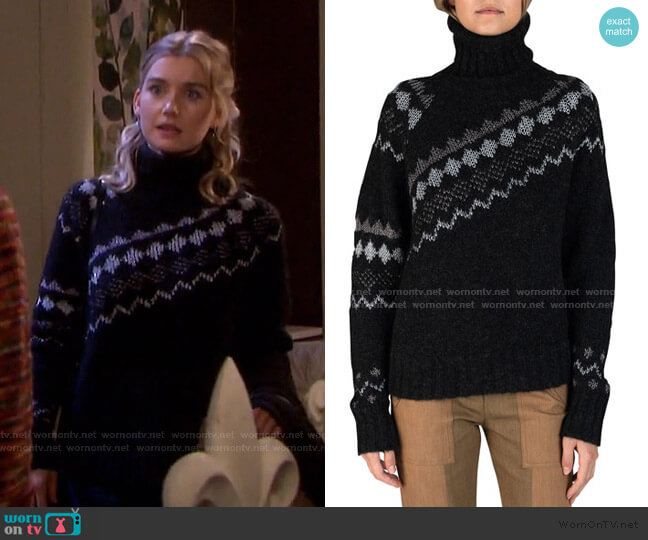 Grammer Diagonal Fair Isle Sweater by Derek Lam 10 Crosby worn by Claire Brady (Isabel Durant ) on Days of our Lives