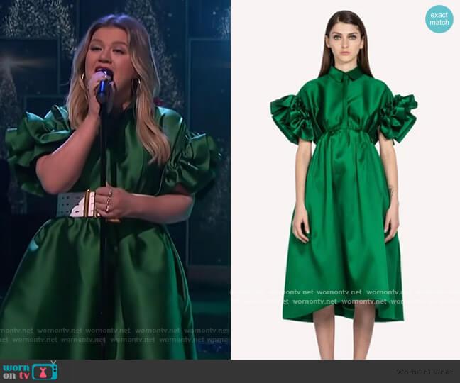 Petal Sleeve Midi Dress by Dice Kayek worn by Kelly Clarkson  on The Kelly Clarkson Show