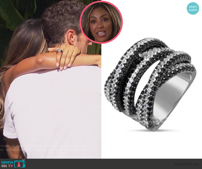 Black Spinel & White Sapphire Ring by Dilamani worn by Tayshia Adams  on The Bachelorette