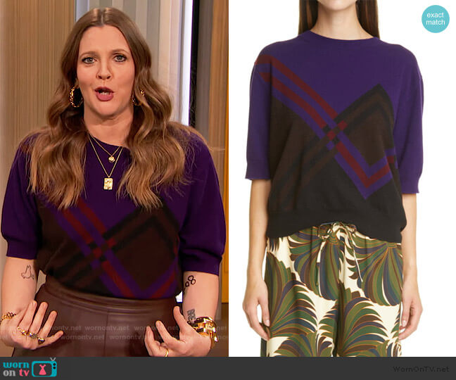 Cashere Sweater by Dries Van Noten worn by Drew Barrymore  on The Drew Barrymore Show