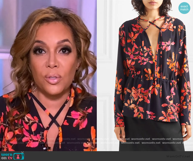 Gathered floral-print crepe de chine blouse by Dries Van Noten worn by Sunny Hostin  on The View