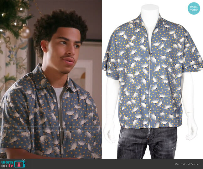 Printed Zip Shirt by Dsquared2 worn by Andre Johnson Jr (Marcus Scribner) on Blackish