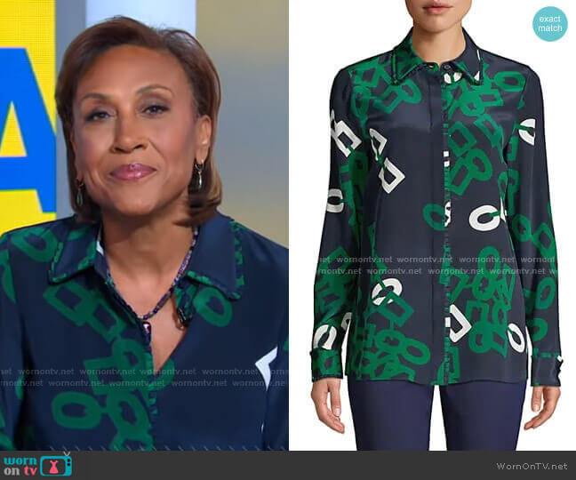 Duvall Link-Print Silk Blouse by Lafayette 148 New York worn by Robin Roberts  on Good Morning America