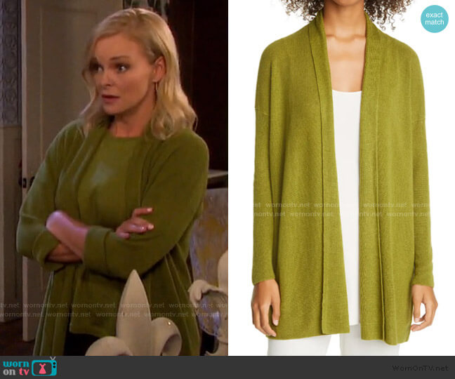 Shawl Collar Organic Cotton Cardigan by Eileen Fisher worn by Belle Brady (Martha Madison) on Days of our Lives