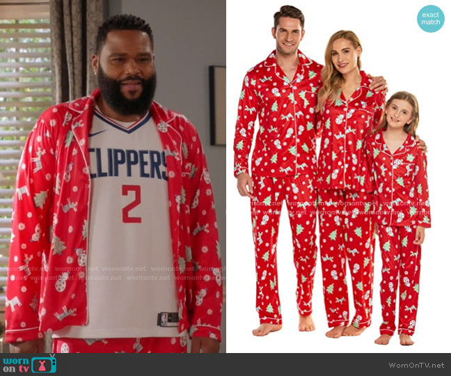 Christmas Family Matching Pajamas by Ekouaer at Amazon worn by Andre Johnson (Anthony Anderson) on Blackish