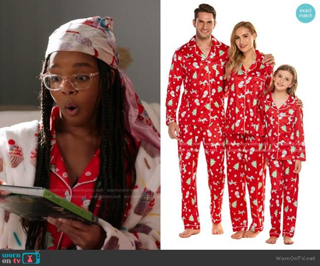 Christmas Family Matching Pajamas by Ekouaer at Amazon worn by Diane Johnson (Marsai Martin) on Blackish