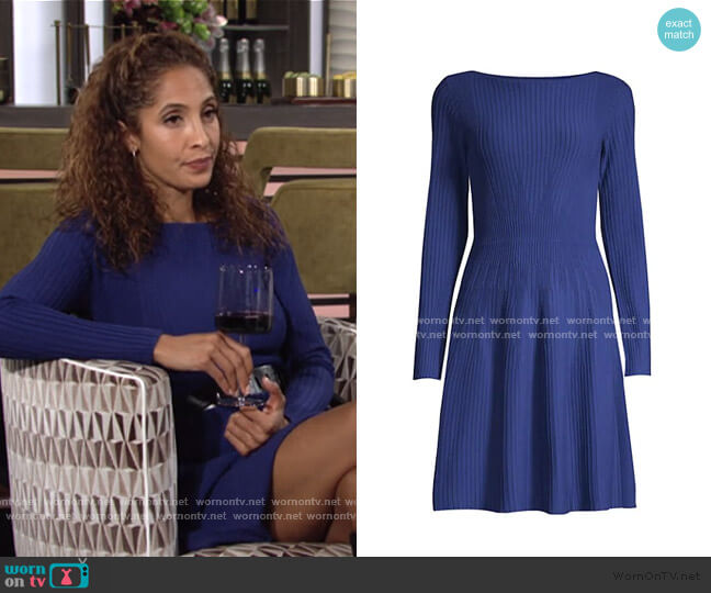 Vertical Knit Long-Sleeve Dress by Emporio Armani worn by Lily Winters (Christel Khalil) on The Young & the Restless