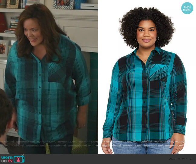 Draped Twill Shirt by Evri worn by Katie Otto (Katy Mixon) on American Housewife