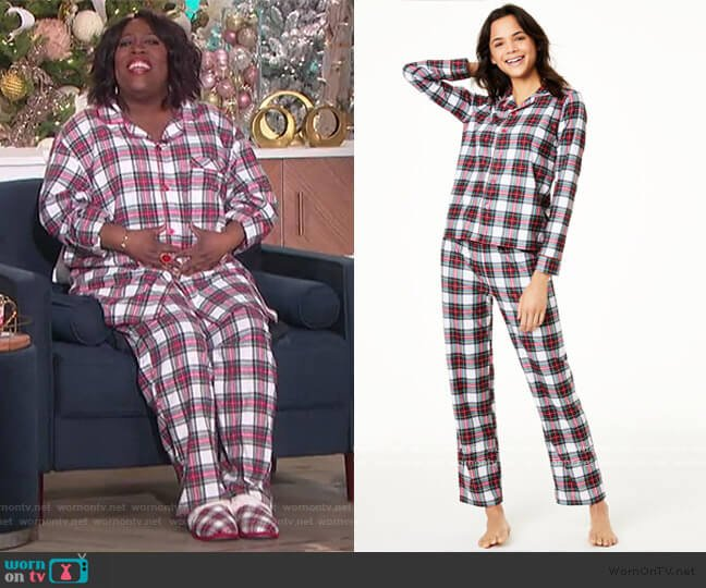 Stewart Plaid Pajama Set by Family Pajamas worn by Sheryl Underwood  on The Talk