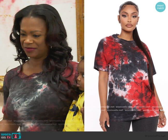 Come Through Tie Dye Top by Fashion Nova worn by Kandi Burruss  on The Real Housewives of Atlanta