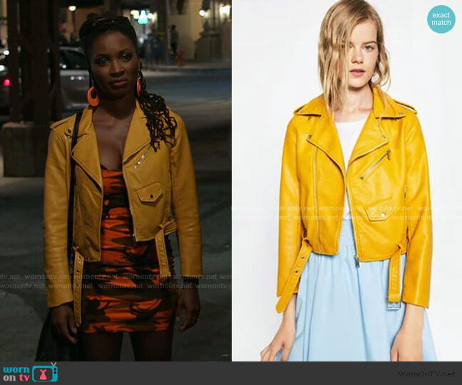 Faux Leather Jacket by Zara worn by Veronica Fisher (Shanola Hampton) on Shameless