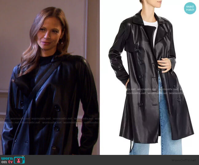 Faux Leather Trench Coat by Blank NYC worn by Ava Vitali (Tamara Braun ) on Days of our Lives
