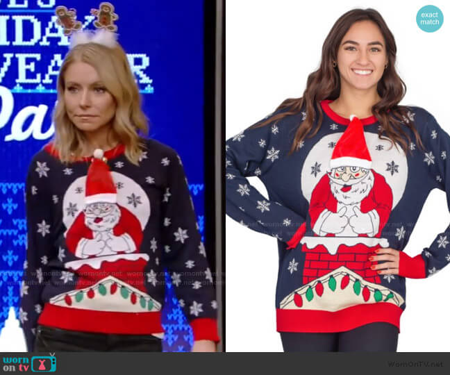 Flappy Santa Animated Hat Ugly Christmas Sweater by Ugly Christmas Sweater worn by Kelly Ripa  on Live with Kelly & Ryan