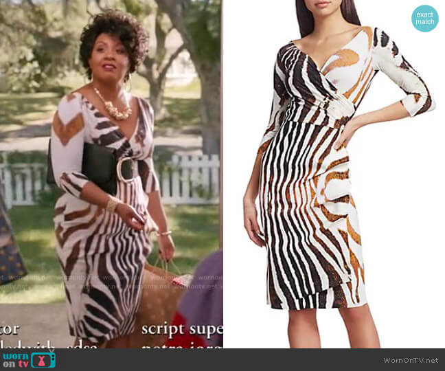 Florien Zebra Print Dress by Chiara Boni La Petite Robe worn by Christina Anthony on Black-ish