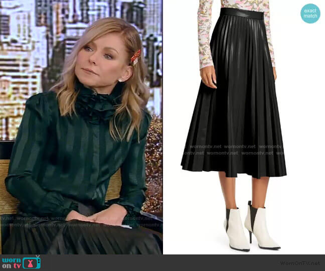Pleated Faux Leather Midi Skirt by Maison Margiela worn by Kelly Ripa  on Live with Kelly & Ryan