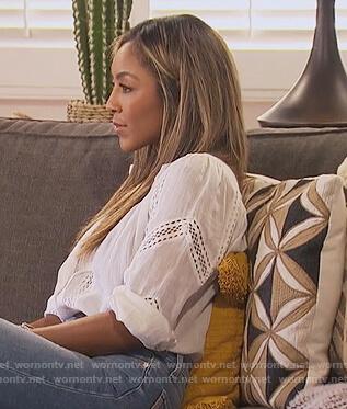 Tayshia's white lace trim blouse on The Bachelorette