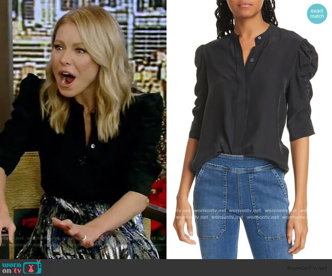 Shirred-Sleeve Silk Shirt by Frame worn by Kelly Ripa  on Live with Kelly & Ryan