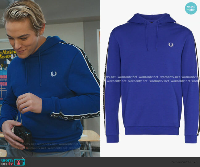 Logo Tape Cotton Hoodie by Fred Perry worn by Mac Morris (Mitchell Hoog) on Saved By The Bell