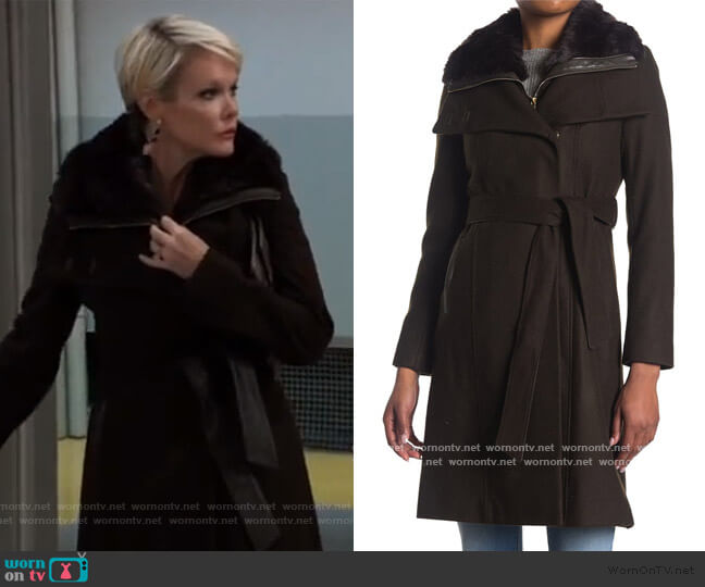 Belted Faux Fur Drape Collar Coat by French Connection worn by Ava Jerome (Maura West) on General Hospital