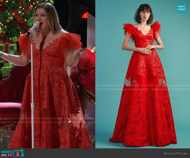 Embroidered Mech Dress by Gemy Maalouf worn by Kelly Clarkson  on The Voice