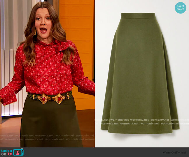 The Ada herringbone camel hair midi skirt by Giuliva Heritage worn by Drew Barrymore  on The Drew Barrymore Show