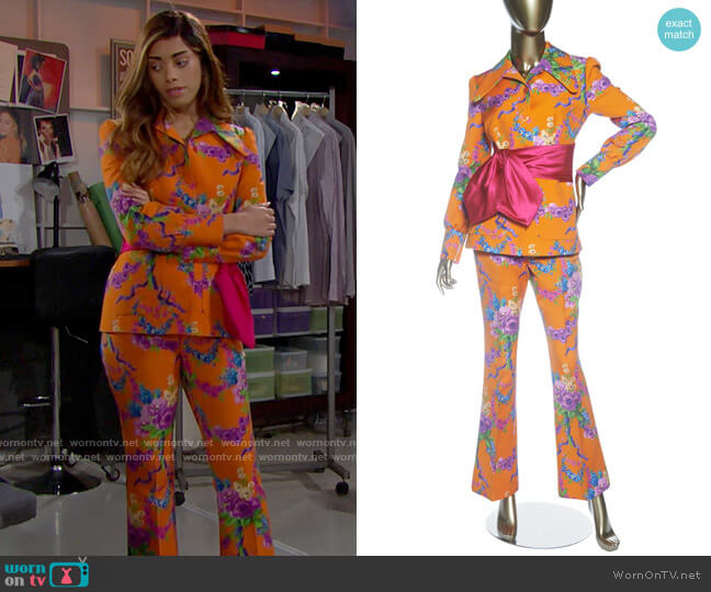 Gucci Garland Multi Colored jacket and Pant set worn by Zoe (Kiara Barnes) on The Bold & the Beautiful