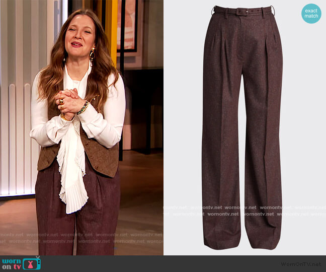 Vargas Belted Wool Pants by Gabriela Hearst worn by Drew Barrymore  on The Drew Barrymore Show