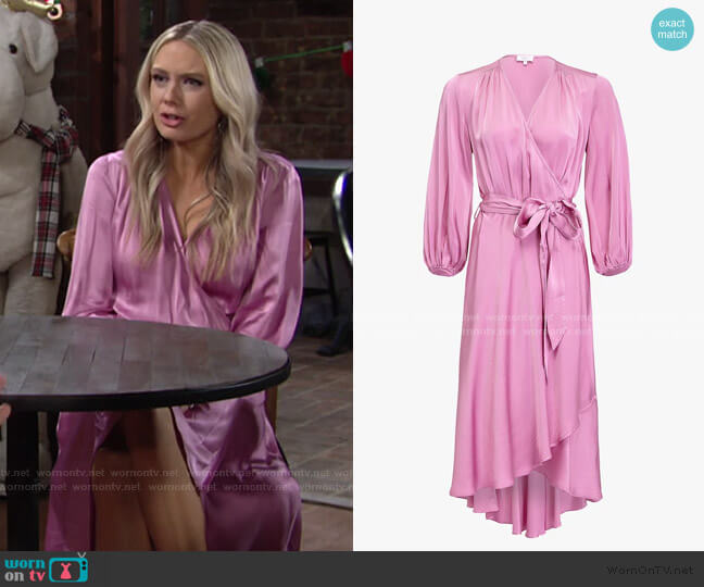 Aggie Waist Tie Wrap Dress by Ghost worn by Abby Newman (Melissa Ordway) on The Young & the Restless
