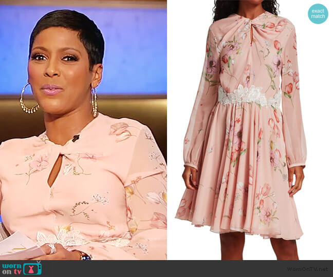 Floral Keyhole Long Sleeve Silk Dress by Giambattista Valli worn by Tamron Hall  on Tamron Hall Show