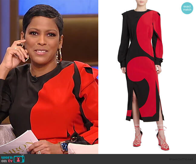 Printed Puff-Sleeve Silk Midi Dress by Givenchy worn by Tamron Hall  on Tamron Hall Show