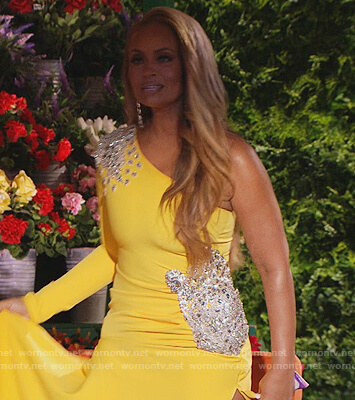 Gizelle's yellow embellished one shoulder dress on The Real Housewives of Potomac