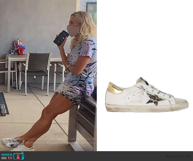 Superstar Low-Top Leather Sneakers by Golden Goose worn by Braunwyn Windham-Burke  on The Real Housewives of Orange County