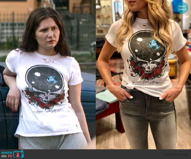 Grateful Dead Space Your Face Tee by Chaser worn by Debbie Gallagher (Emma Kenney) on Shameless