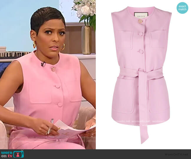 Interlocking G belted gilet by Gucci worn by Tamron Hall  on Tamron Hall Show