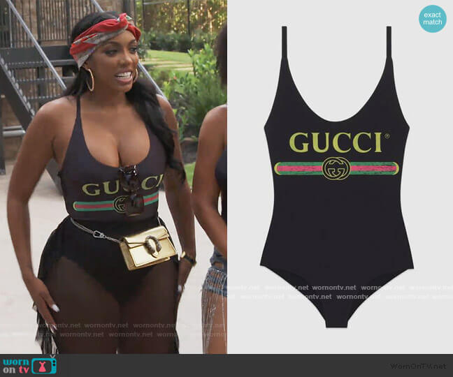 Logo Print Swimsuit by Gucci worn by Porsha Williams  on The Real Housewives of Atlanta