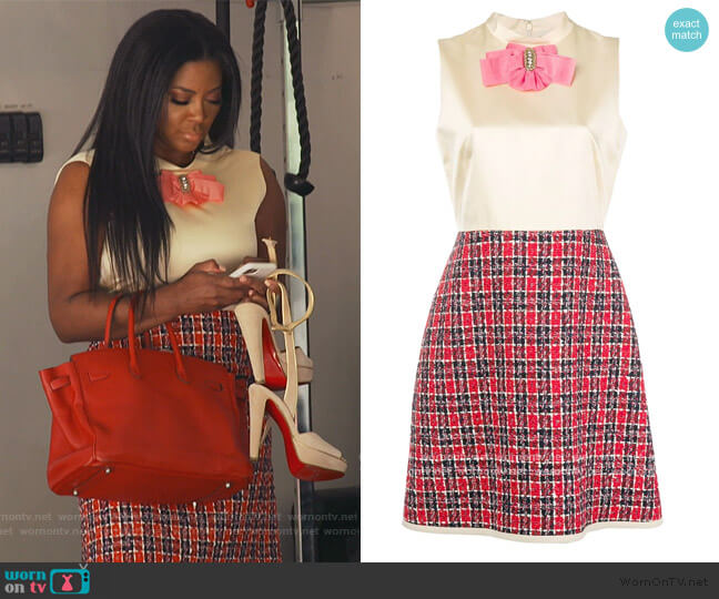 Bow Tweed Skirt Dress by Gucci worn by Kenya Moore  on The Real Housewives of Atlanta