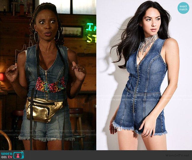 Raw Edge Denim Romper by Guess worn by Veronica Fisher (Shanola Hampton) on Shameless
