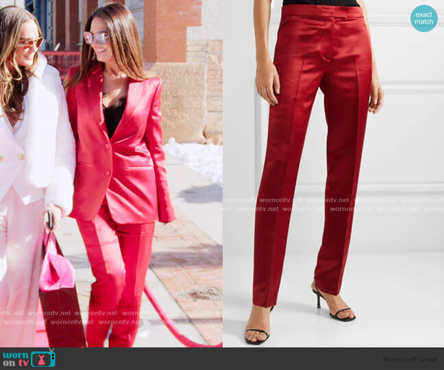 Satin Straight-Leg Pants by Helmut Lang worn by Lisa Barlow  on The Real Housewives of Salt Lake City