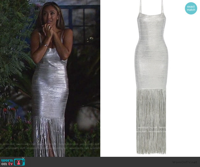 Fringed metallic coated bandage gown by Herve Leger worn by Tayshia Adams  on The Bachelorette