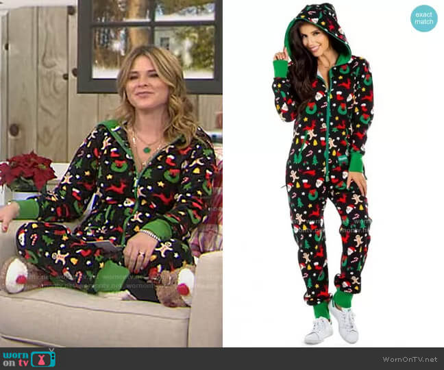 Holiday Cookie Cutter Adult Jumpsuit by Tipsy Elves worn by Jenna Bush Hager  on Today