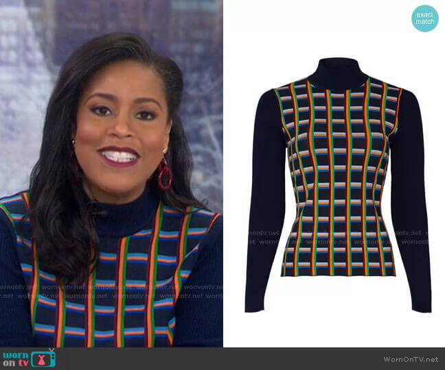 Jacquard Front Ribbed Turtleneck by Tory Sport worn by Sheinelle Jones  on Today
