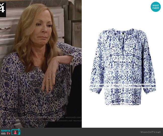 Printed Blouse in Ikat by Joie worn by Bonnie Plunkett (Allison Janney) on Mom