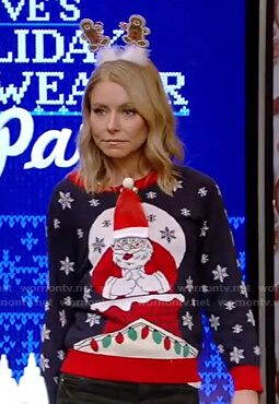 Kelly's ugly Christmas sweater on Live with Kelly and Ryan