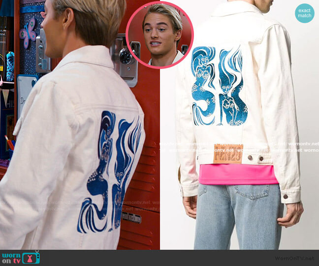 Mermaid-Embroidered Eenim Jacket by Kenzo worn by Mac Morris (Mitchell Hoog) on Saved By The Bell
