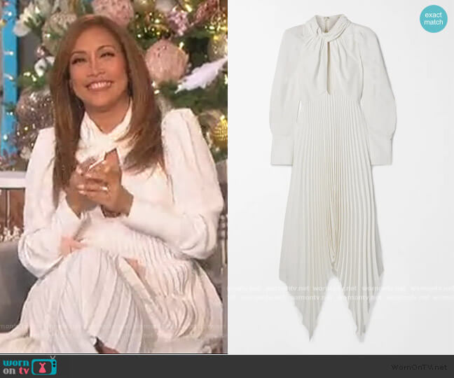 Bryn asymmetric cutout pleated crepe dress by Khaite worn by Carrie Inaba  on The Talk