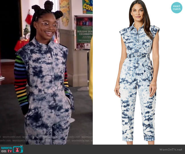 Sleeveless Tie-Dye Jumpsuit by Rebecca Taylor worn by Diane Johnson (Marsai Martin) on Blackish